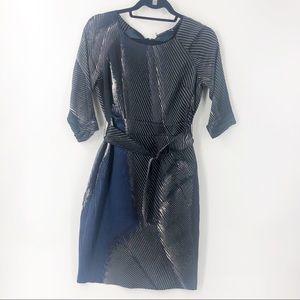 Elie Tahari Silk Navy/Royal/White Dress Size 2